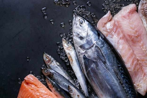 Vatiery van rauwe verse vis