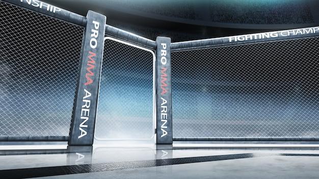 Vechtkampioenschap. vecht tegen de nacht. mma-achthoek op het licht. onderaanzicht. sport. 3d-weergave
