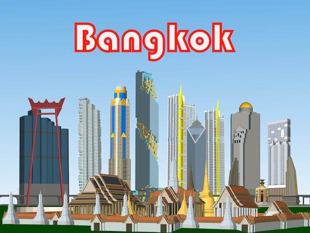 Vector bangkok, thailand gebouwen in de grote steden