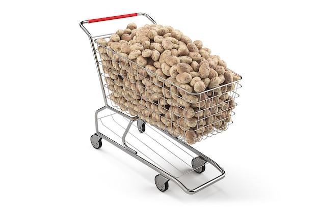 Veel aardappelen in een winkelwagentje op th witte achtergrond. 3d-weergave