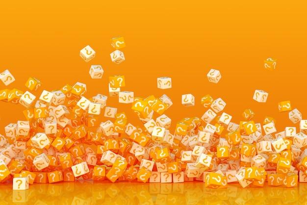 Veel afbrokkelende kubussen met vraagtekens aan de kanten 3d illustratie
