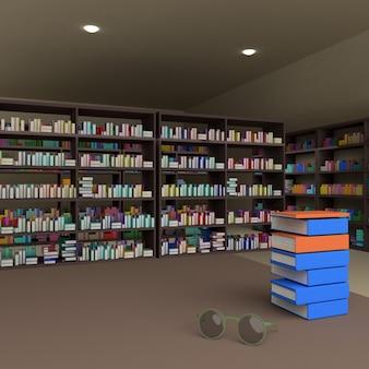 Veel boeken over boekenplank en een bril op tafel