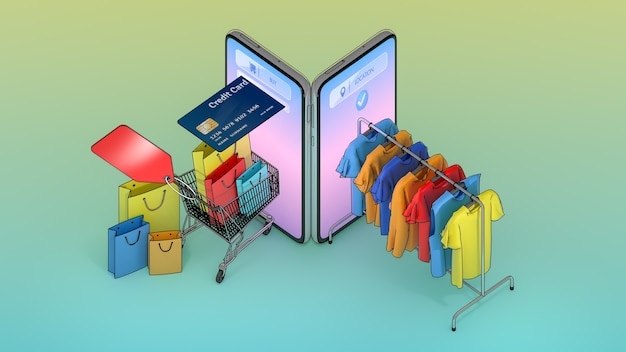 Veel boodschappentassen en prijskaartjes in een winkelwagentje en kleding aan een hanger verschenen op het scherm van smartphones