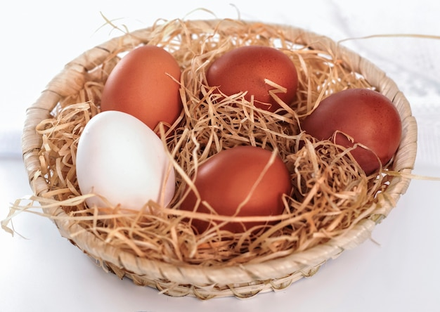 Veel bruine eieren en een witte in de mand
