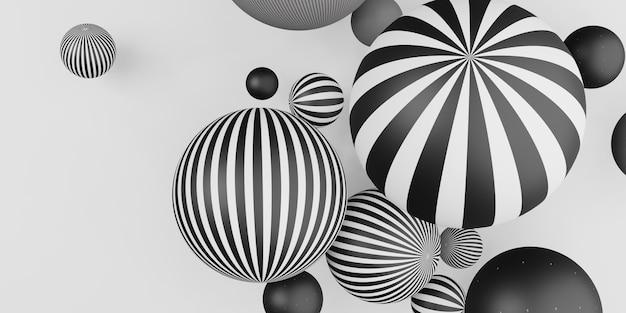 Veel decoratieve ballen horizontale strepen zwart-wit 3d illustratie