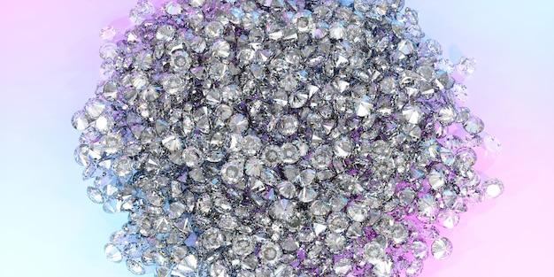 Veel diamanten liggen in een grote stapel, 3d illustratie