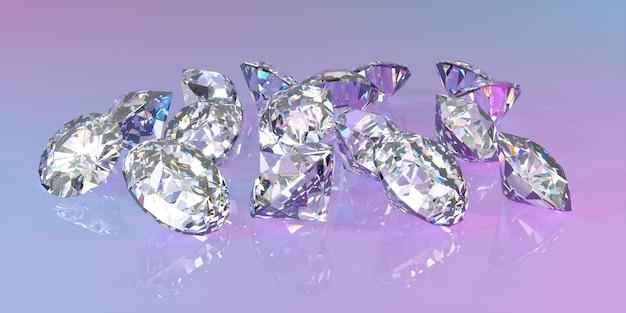 Veel diamanten liggen in een stapel in neonlicht, 3d illustratie