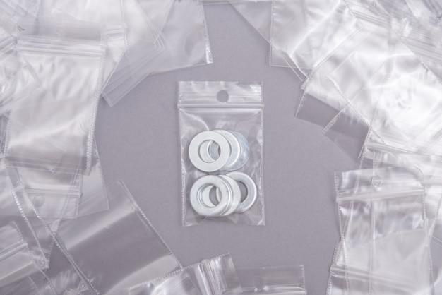 Veel doorzichtige plastic ritssluitingszakken