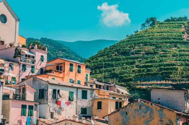 Veel gebouwen in de buurt van bergen bedekt met groen gras onder de bewolkte hemel
