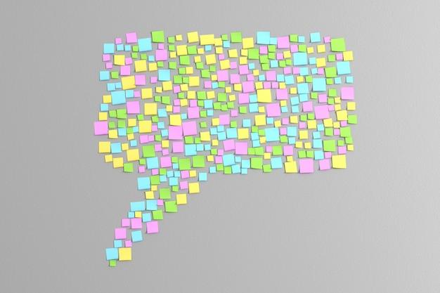 Veel gekleurde stickers geplakt op de grijze muur in de vorm van berichten van het bericht