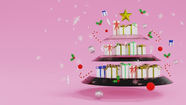 Veel geschenkdozen staan op planken van glas die eruitzien als een kerstboom. vrolijk kerstfeest en een gelukkig nieuwjaar.