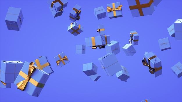 Veel geschenken tijdens de vlucht feestelijke achtergrond in blauwe tint 3d-rendering