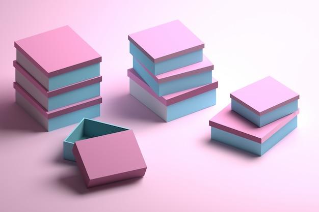 Veel gestapelde verpakkingsdozen in blauw en roze