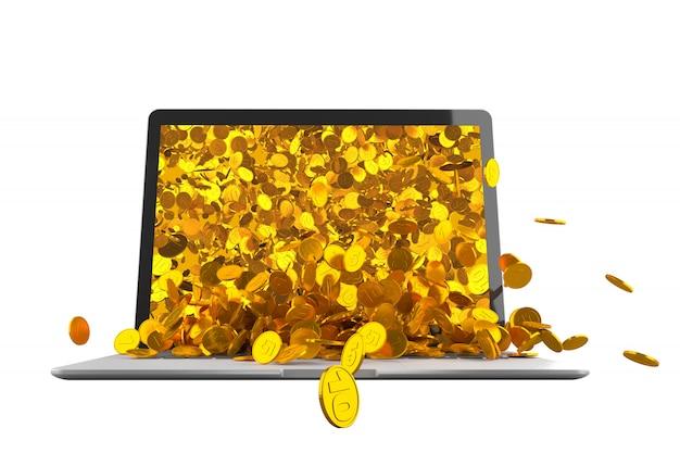 Veel gouden munten morsen uit de laptop monitor 3d illustratie
