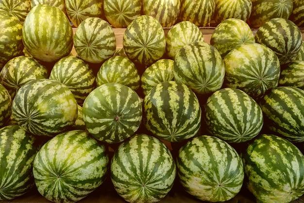 Veel grote zoete groene watermeloenen op de fruitmarkt.