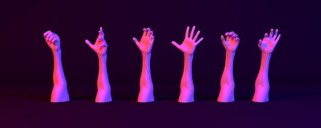Veel handen in neonlicht op een donkere achtergrond, 3d illustratie