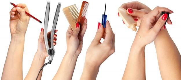 Veel handen met make-up items