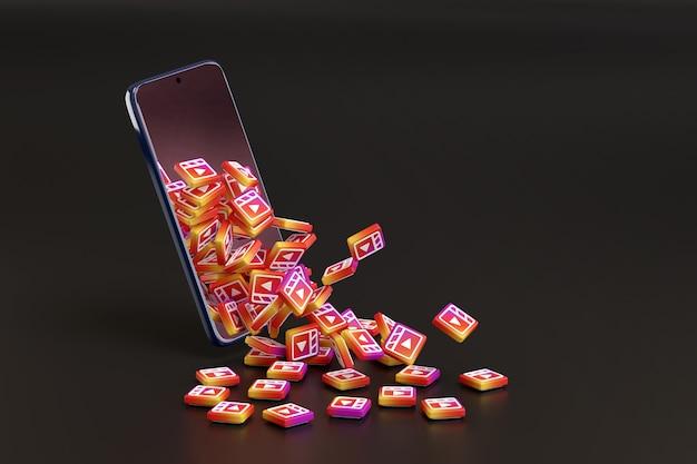 Veel instagram-rollenlogo's komen uit een mobiele telefoon op een zwarte achtergrond.