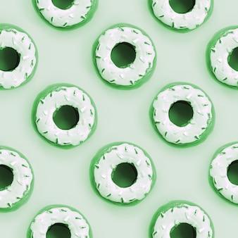 Veel kleine plastic donuts ligt patroon