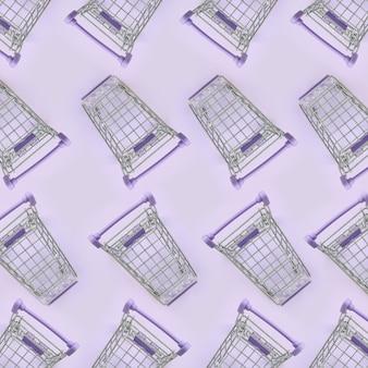 Veel kleine winkelwagentjes op violet