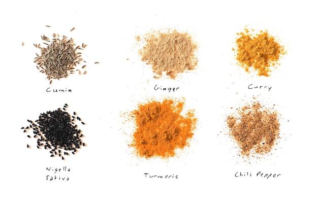 Veel kruiden waaronder gember curry kurkuma chilipeper zwarte komijn nigella sativa