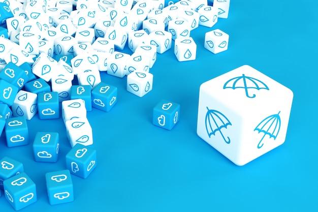Veel kubussen met regen pictogrammen verspreid over blauwe achtergrond. 3d-afbeelding