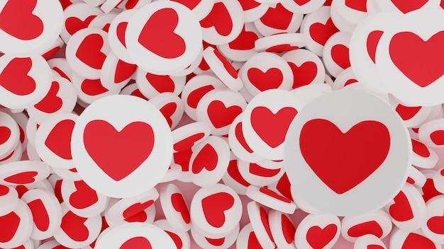 Veel likes of hartobjecten als symbolen van succes op sociale media. het concept van virtuele populariteit, zoals tijd en likes boost. 3d render