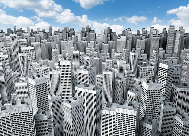 Veel moderne kantoorgebouwen vormen een blok tegen de blauwe lucht