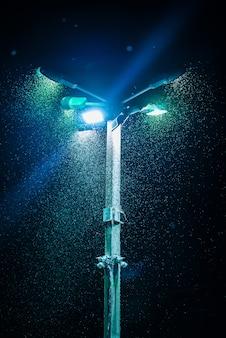Veel muggen in veld in het licht van de lantaarn op de paal.