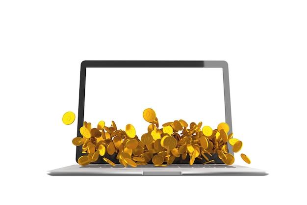 Veel muntstukken die uit laptop op witte achtergrond morsen. 3d illustratie
