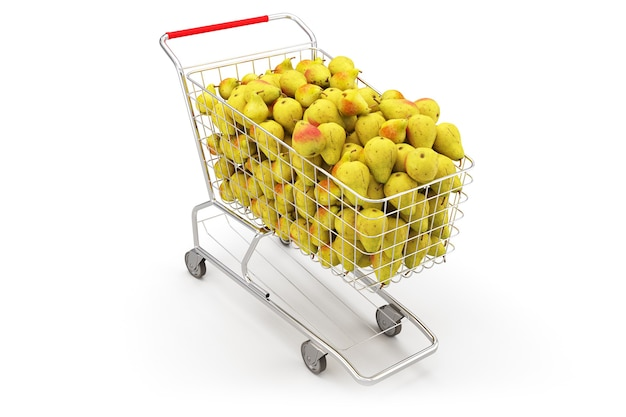 Veel peren in een winkelwagentje op de witte achtergrond. 3d-weergave