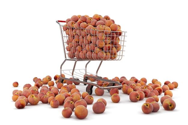 Veel perziken in een winkelwagentje op de witte achtergrond. 3d-weergave
