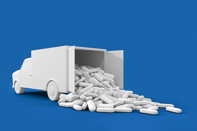 Veel pillen die uit de vrachtwagen stromen. het concept kunst op het thema van drug delivery