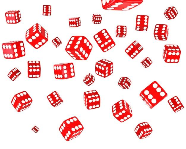Veel rode dobbelstenen vrije val op witte achtergrond.