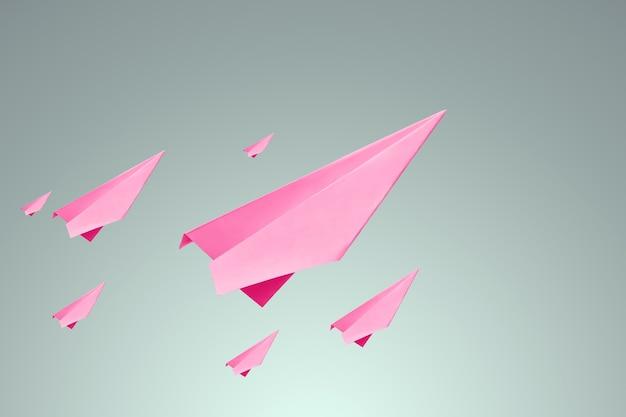 Veel roze papieren samaletik op een lichte achtergrond