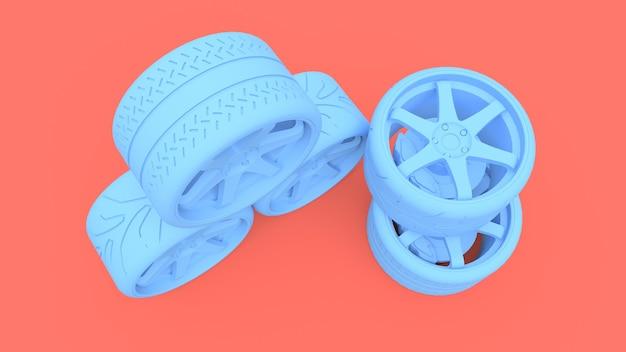 Veel sportwagenwielen staan bij elkaar. minimale stijl installatie. 3d-weergave.