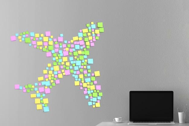 Veel stickers op de muur geplakt in de vorm van een vliegtuig silhouet 3d illustratie