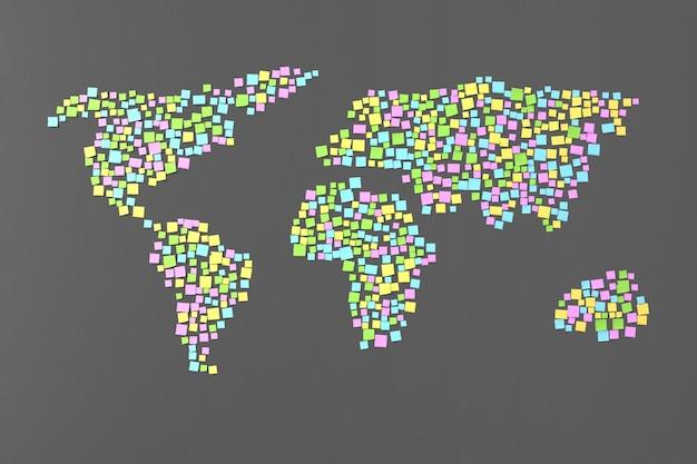 Veel stickers op de muur geplakt in de vorm van silhouetten van continenten 3d illustratie