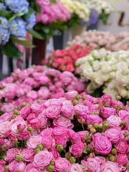 Veel struikrozen van verschillende variëteiten, tinten. bloemen in een bloemenwinkel voor geschenken. ontzettend mooie rozen