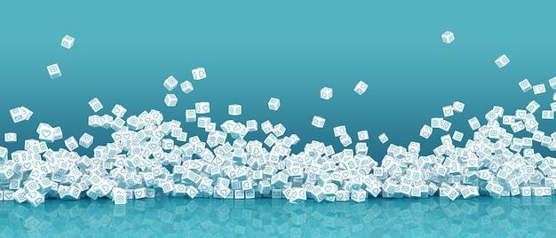 Veel vallende blokken met afbeeldingen van iconen van sociale netwerken 3d-afbeelding