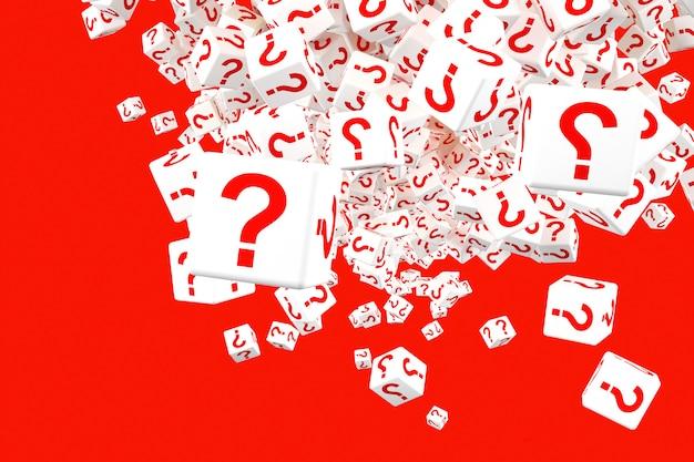 Veel vallende blokken met vraagtekens. 3d illustratie
