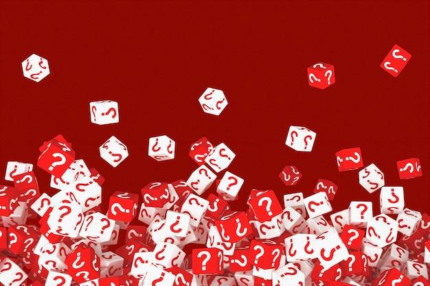 Veel vallende kubussen met vraagtekens. 3d illustratie