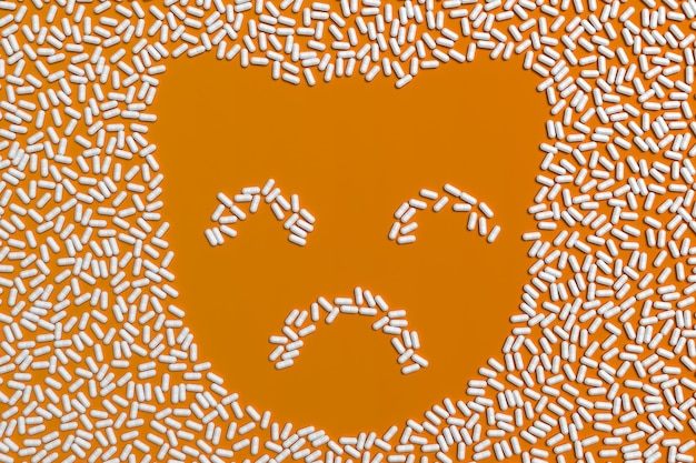 Veel verkruimelde tabletten in de vorm van een silhouet van een kitten. 3d illustratie