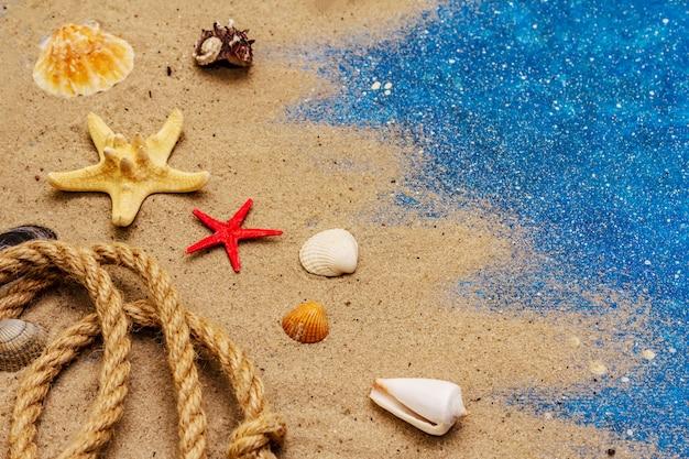 Veel verschillende schelpen, touw en blauwe glitter als zee