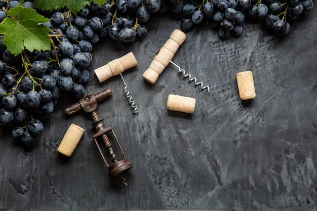 Veel verschillende soorten kurkentrekkers met open wijnkurken op donkere betonnen ondergrond, zwarte druiven. degustatie wijnproeverij van wijnen drinken. soorten kurkentrekkers in wijnbar-restaurant.