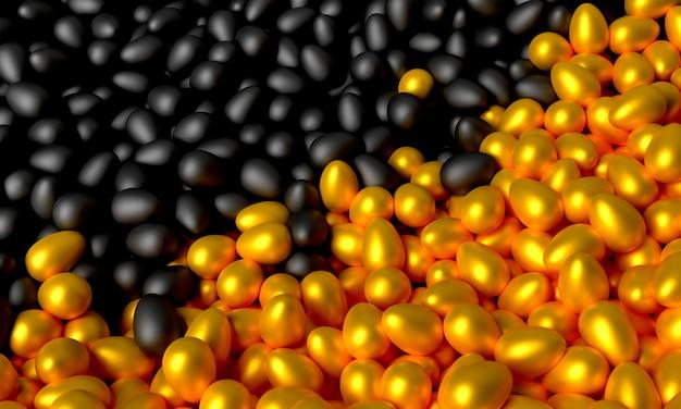 Veel verspreide zwarte en gouden eieren. 3d illustratie