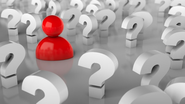 Veel vraagtekens en een persoon. veel vragen of op zoek naar een oplossing. 3d render.