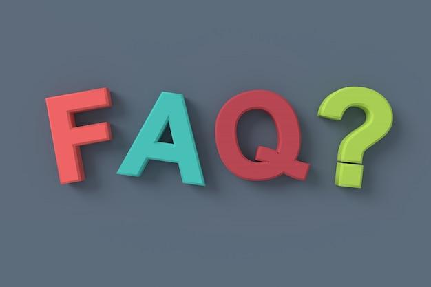 Veelgestelde vragen (faq). 3d-rendering.