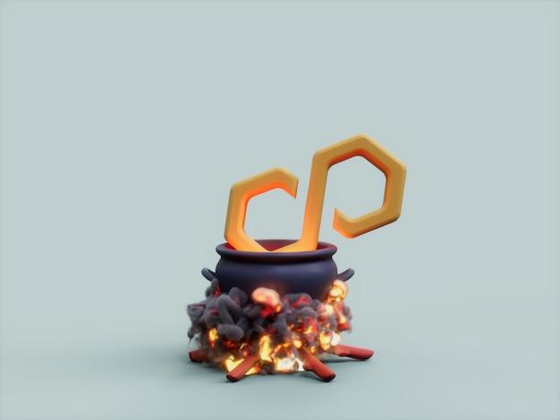 Veelhoek matic ketel vuur cook crypto valuta 3d illustratie render
