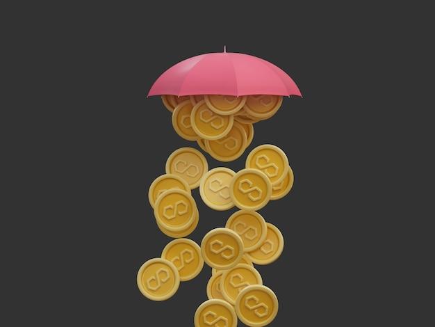 Veelhoek matic munt regent crypto onder paraplu overvloedige rijkdom geïsoleerde 3d illustratie render